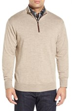 Leather Trim Quarter Zip Pullover Sweater
